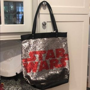 Disney Parks Star Wars Logo Flip Sequin Tote Bag
